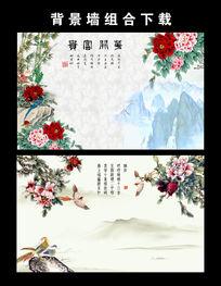 中国风牡丹花鸟花开富贵电视背景墙图片设计下载