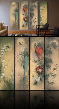 梅兰竹菊工笔国画屏风背景墙