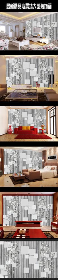 背景墙壁画立体方框蒲公英