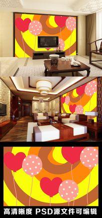 橙色彩虹色彩气球爱心电视背景墙