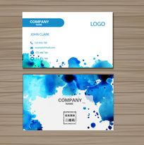 蓝色水彩墨迹商务卡片矢量名片设计