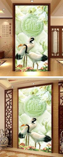 玉雕仙鹤玄关图片