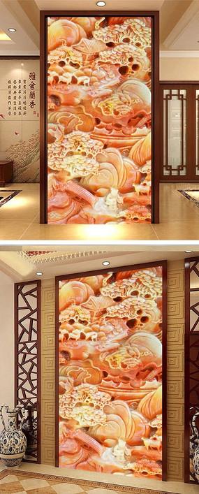 中式国画山水画迎客松玉雕玄关背景墙