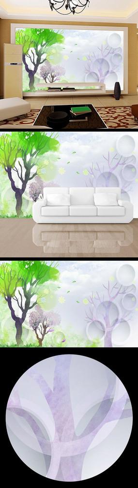 树木卡通清雅3d立体电视背景墙