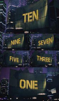 3D城市LED巨幕英文出字十秒倒计时