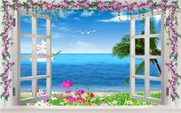 面朝大海春暖花开推窗见海唯美浪漫电视背景墙