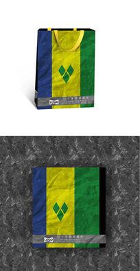 三色方块清爽纸袋设计图