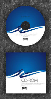 白蓝色简洁礼带时尚CD设计