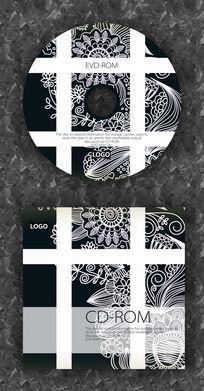 白色条纹复古花纹CD封面设计