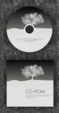黑白的树时尚光盘模板