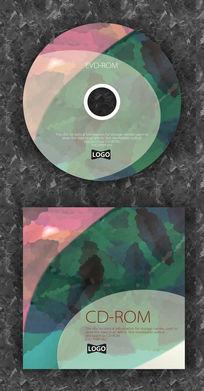 红绿白复古树叶纹路CD封面设计