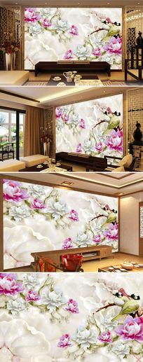 玉雕牡丹花鸟电视背景墙壁画图片