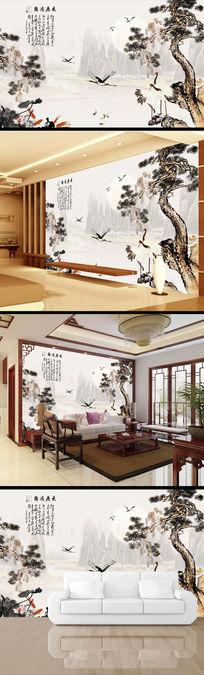 中式迎客松水墨画电视背景墙