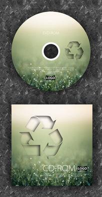 绿色小草环保标志光盘设计