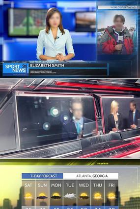 全套电视新闻广播栏目包装片头ae模板