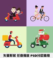 情侣机车自行车卡通送货员圣诞老人扁平化矢量图形