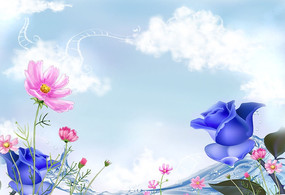藍色妖姬浪漫風景清新唯美電視背景墻