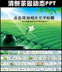 清新绿色自然生态环保茶园PPT模板