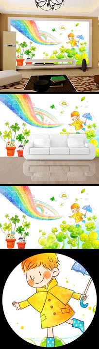 四叶草卡通背景墙