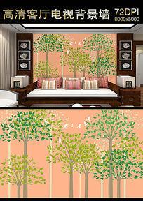 飞鸟丛林沙发背景墙