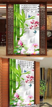 客厅3D竹子倒影荷花玄关背景图片