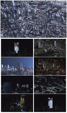 城市鸟瞰城市规划灯光vj震撼舞台背景视频