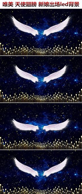 天使翅膀粒子星空唯美婚礼背景视频素材新娘出场背景