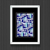 简单蓝色抽象几何图案装饰画