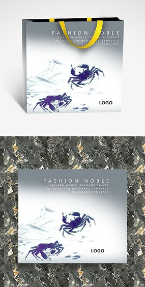 水墨风螃蟹文化纸袋设计