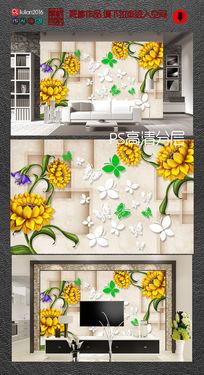 大理石菊花3D背景墙