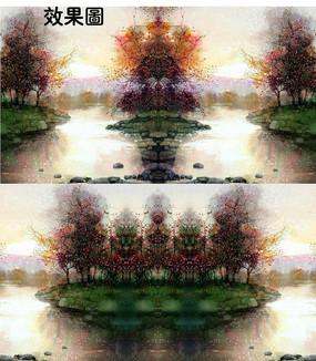 湖上秋色风景水彩画特效视频
