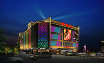 建筑外墙夜景照明设计效果图PSD分层