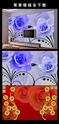 玫瑰花艺术电视背景墙图片设计下载