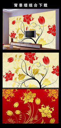 抽象手绘花朵电视背景墙图片设计下载