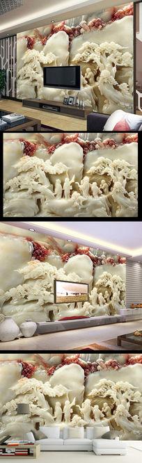 中式高清玉雕古典壁画电视背景墙