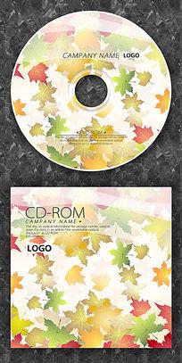 彩色落叶卡通枫叶cd封面设计
