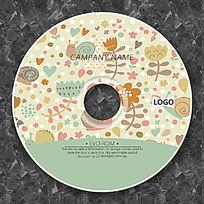 复古卡通植物背景CD设计