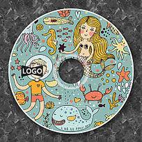 复古美人鱼卡通CD光盘设计