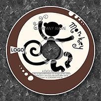 黑色猴子剪影时尚CD设计
