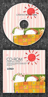 卡通小羊睡懒觉cd封面设计
