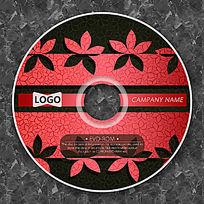 红色剪纸小花时尚CD光盘