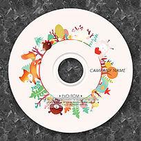卡通小动物花环可爱CD光盘