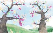 梦的季节卡通乐园儿童房背景墙壁画