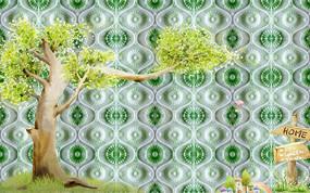 绿色草地电视背景墙