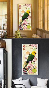 古典花鸟鹦鹉立体玄关背景墙