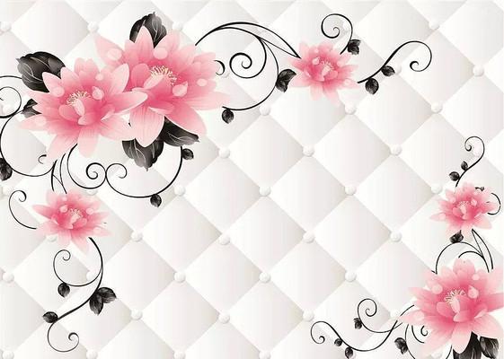 现代简约田园牡丹玫瑰藤蔓软包背景墙