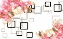 现代田园简约抽象花卉玫瑰3D立体方块方框背景墙