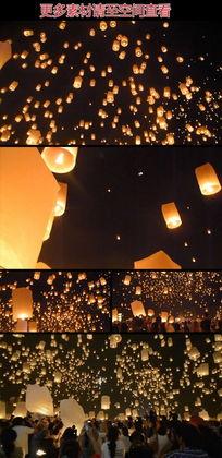 灯节放天灯祈福盛会实拍视频素材