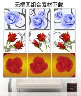 蓝色玫瑰红色玫瑰无框画装饰画图片设计下载