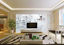 立体方形电视背景墙
